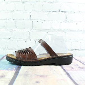 Naot NICE Leather Wedge Slide Sandals Size 8